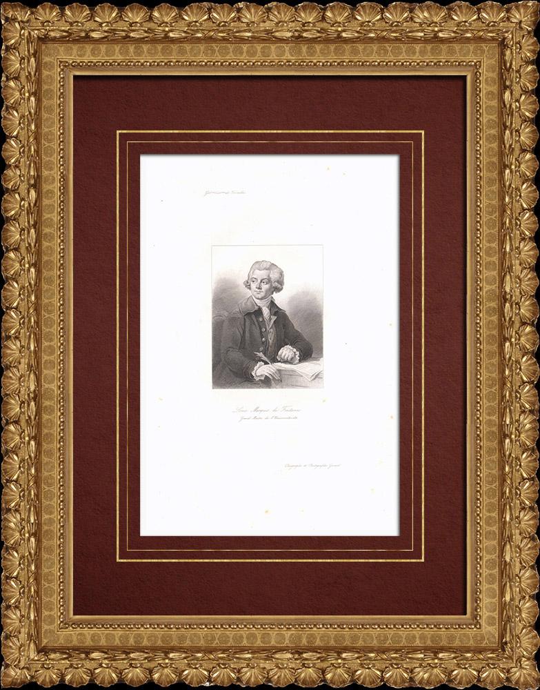 Grabados & Dibujos Antiguos   Retrato de Louis de Fontanes (1757-1821) - Escritor Francés   Grabado en talla dulce   1838