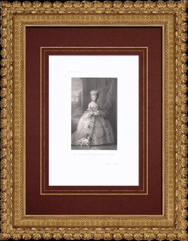 Grabados & Dibujos Antiguos | Retrato de Carlota de Mecklemburgo-Strelitz (1744-1818) | Grabado en talla dulce | 1838