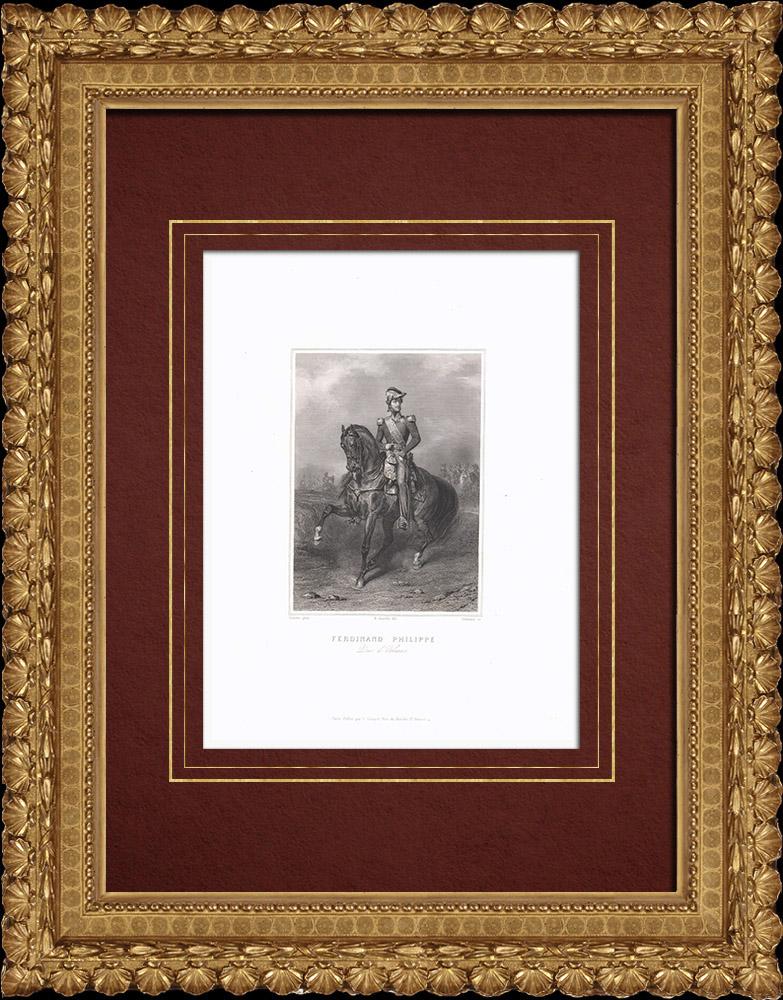 Gravures Anciennes & Dessins | Portrait de Ferdinand-Philippe d'Orléans (1810-1842) | Taille-douce | 1838