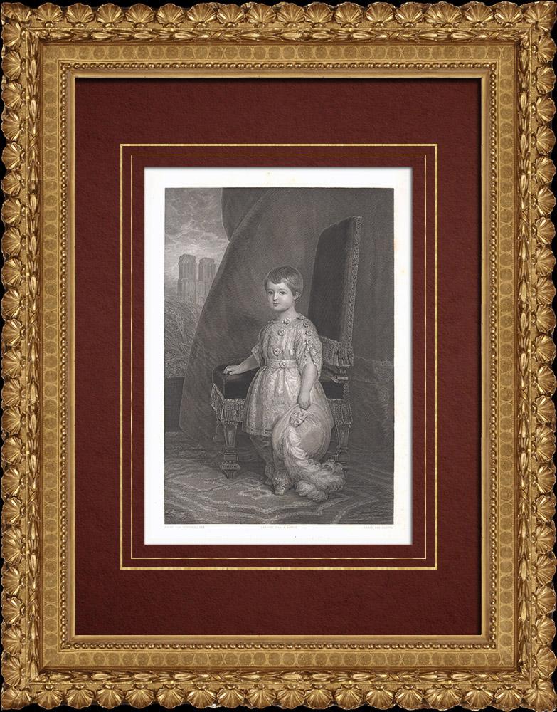 Gravures Anciennes & Dessins | Portrait de Louis-Philippe Comte d'Orléans, enfant (1838-1894) | Taille-douce | 1838