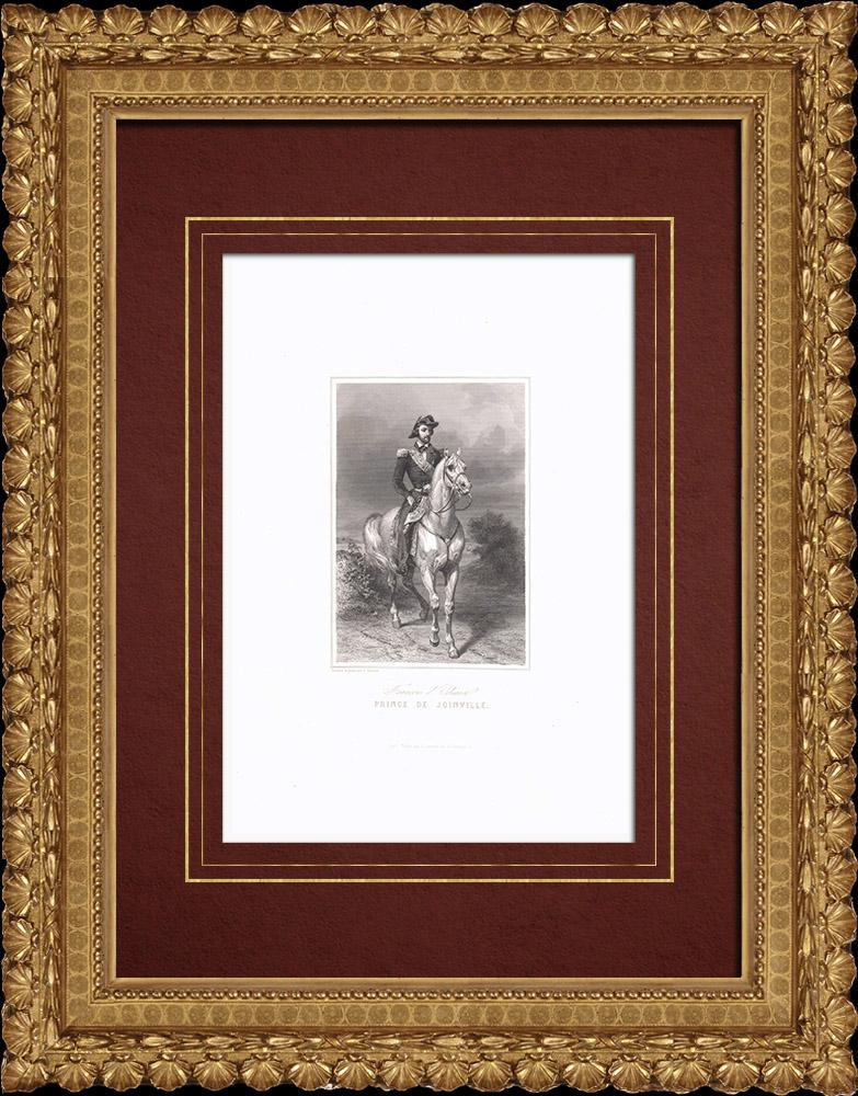 Gravures Anciennes & Dessins   Portrait équestre de François d'Orléans, prince de Joinville (1818-1900)   Taille-douce   1838