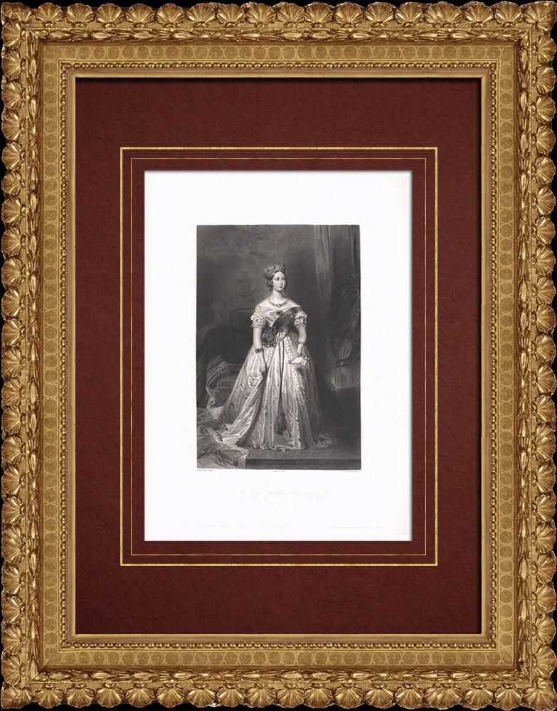 Gravures Anciennes & Dessins | Portrait de la Reine Victoria (1819-1901) | Taille-douce | 1838