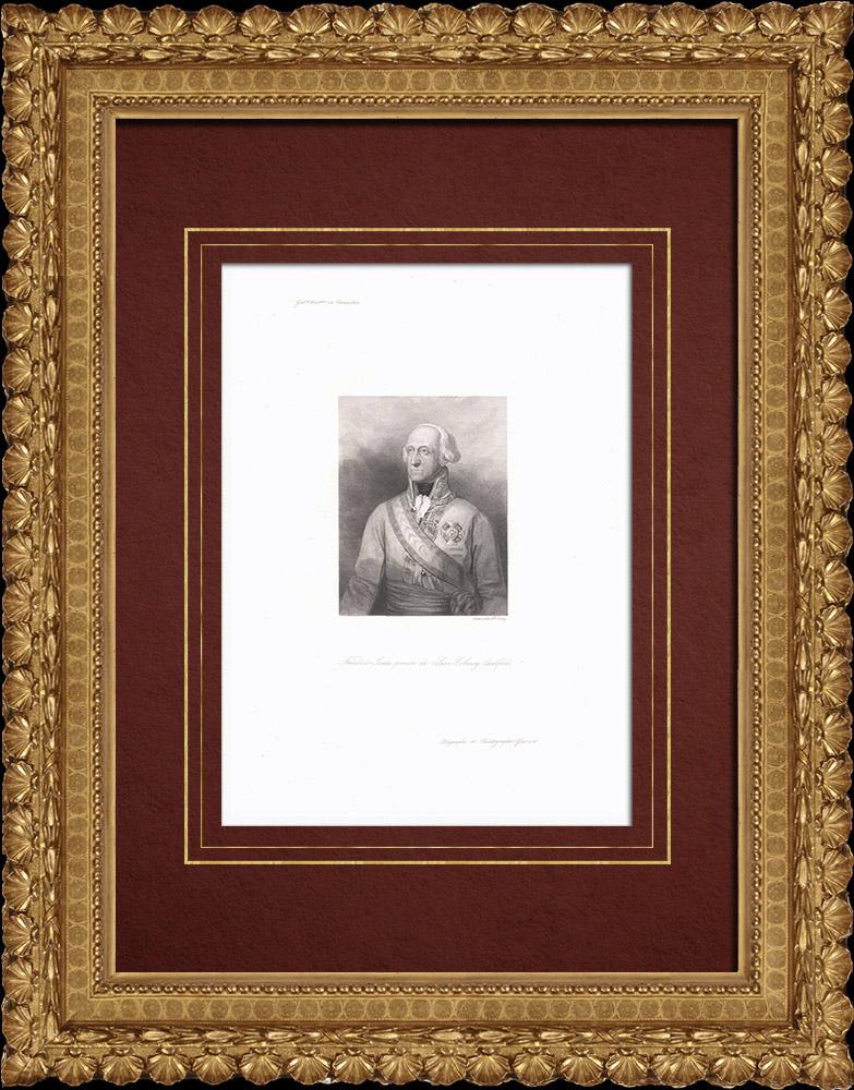 Gravures Anciennes & Dessins   Portrait de Frédéric Josias de Saxe-Cobourg-Saalfeld (1737-1815)   Taille-douce   1838