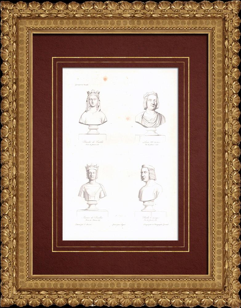 Gravures Anciennes & Dessins   Bustes - Blanche de Castille (1188-1252) - Louis VIII le Lion (1187-1226) - Jeanne de Bourbon (1338-1378) - Charles V (1338-1380)   Taille-douce   1838
