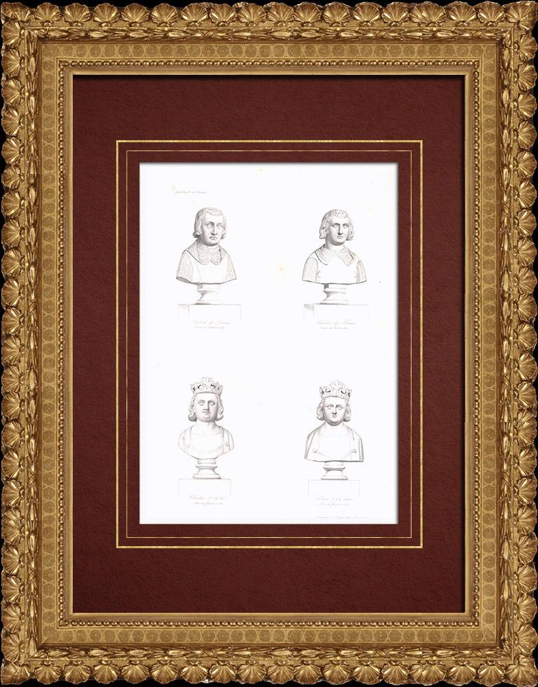 Gravures Anciennes & Dessins   Bustes - Robert de Clermont (1256-1317) - Charles de Valois (1270-1325) - Charles IV le Bel (1294-1328) - Louis X le Hutin (1289-1316)   Taille-douce   1838