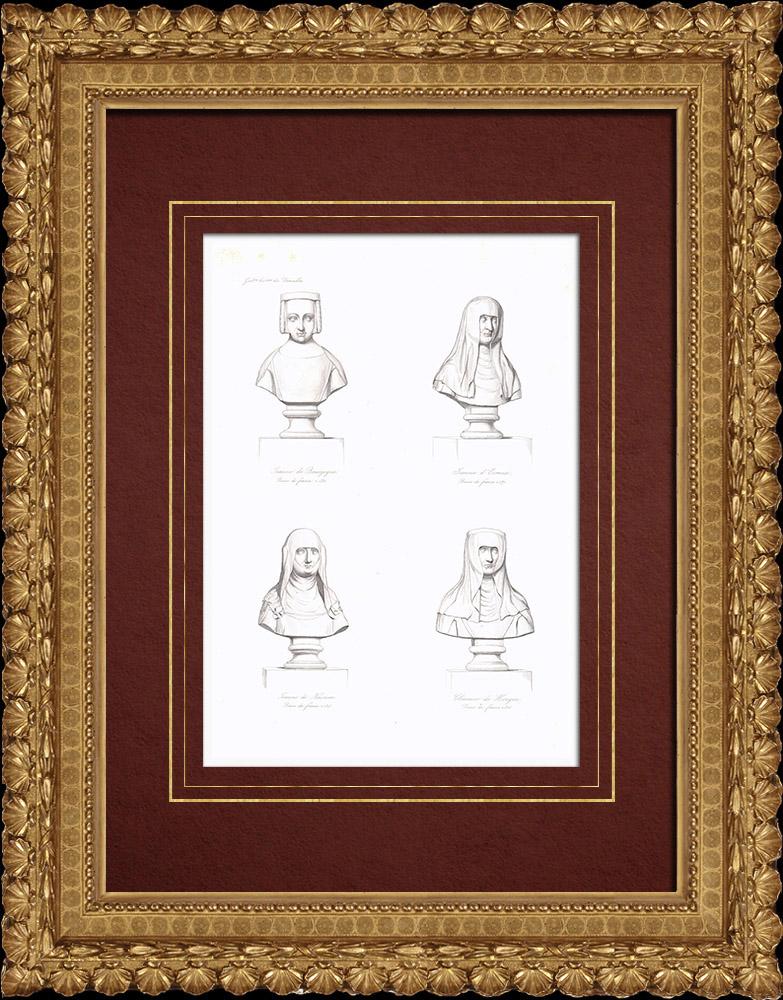 Grabados & Dibujos Antiguos   Bustos - Reinas de Francia - Juana II de Borgoña (1291-1330) - Juana de Evreux (1310-1371) - Juana I de Navarra (1273-1305) - Clemencia de Hungría (1293-1328)   Grabado en talla dulce   1838