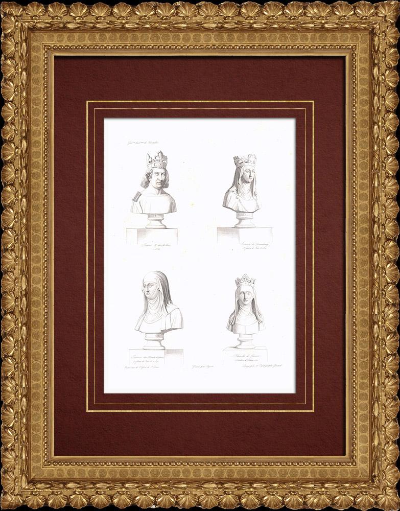 Gravures Anciennes & Dessins | Bustes - Jean II  le Bon (1319-1364) - Bonne de Luxembourg (1315-1349) - Jeanne I d'Auvergne (1326-1360) - Blanche de France (1328-1394) | Taille-douce | 1838