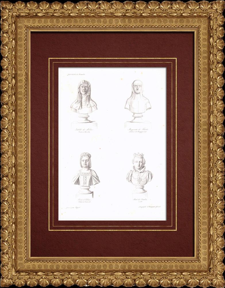Gravures Anciennes & Dessins   Bustes - Isabelle de Melun (vers 1330-1389) - Marguerite III de Flandre (1350-1405) - Renée d'Orléans-Longueville (1508-1515) - Marie de Bourbon (1515-1538)   Taille-douce   1838