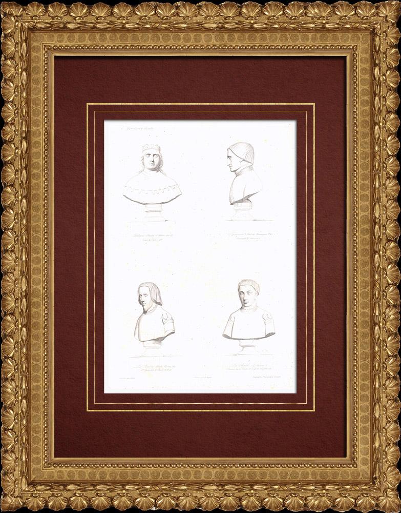 Gravures Anciennes & Dessins   Bustes - Charles Ier d'Orléans (1394-1465) - Louis de Sancerre (1342-1402) - Bureau de La Rivière (?-1400) - Guillaume III du Chastel (?-1441)   Taille-douce   1838