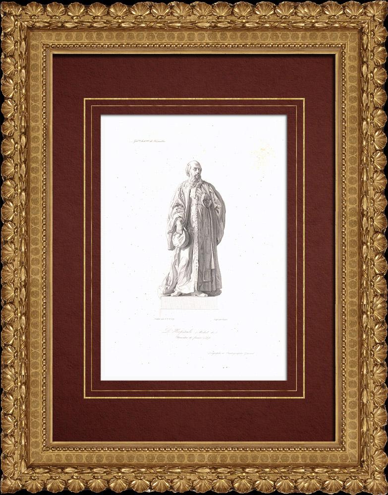 Gravures Anciennes & Dessins | Portrait de Michel de L'Hopital (1505-1573) | Taille-douce | 1838