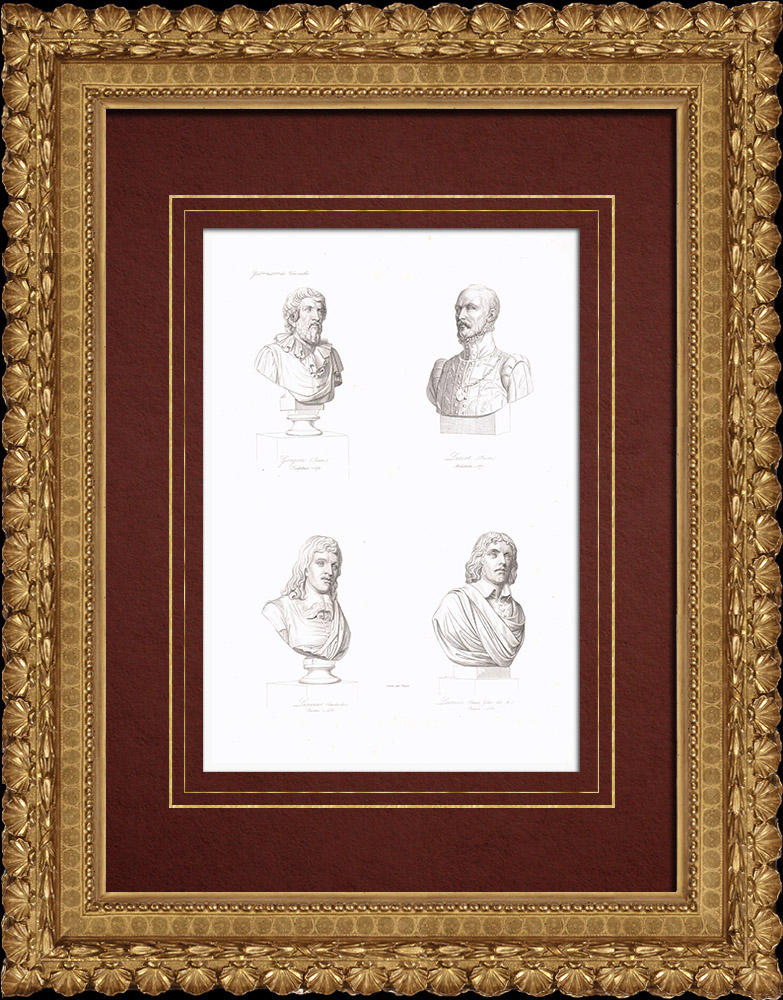 Gravures Anciennes & Dessins   Bustes - Jean Goujon (vers 1510-vers 1567) - Pierre Lescot (1515-1578) - Eustache Le Sueur (1617-1655) - Claude Gellée dit Le Lorrain (vers 1600-1682)   Taille-douce   1838