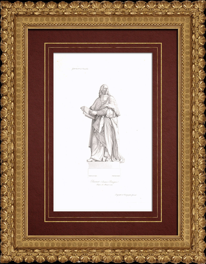 Gravures Anciennes & Dessins | Portrait de Bossuet (1627-1704) | Taille-douce | 1838