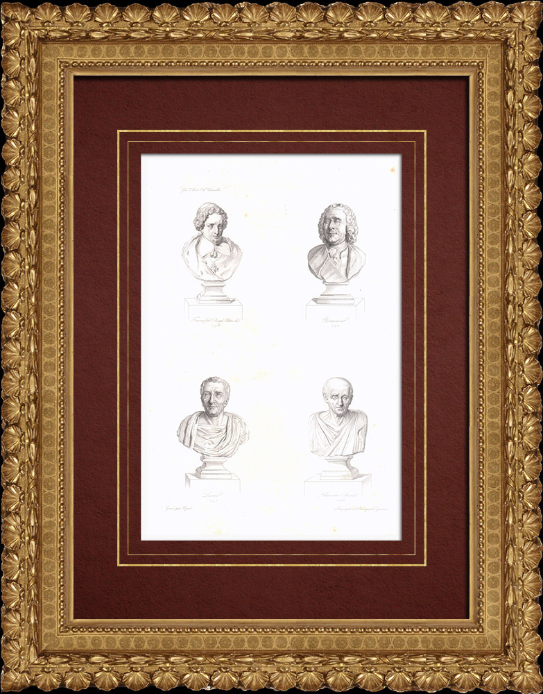 Grabados & Dibujos Antiguos | Bustos - Tournefort (1656-1708) - Réaumur (1683-1757) - Linné (1707-1778) - Michel Adanson (1727-1806) | Grabado en talla dulce | 1838