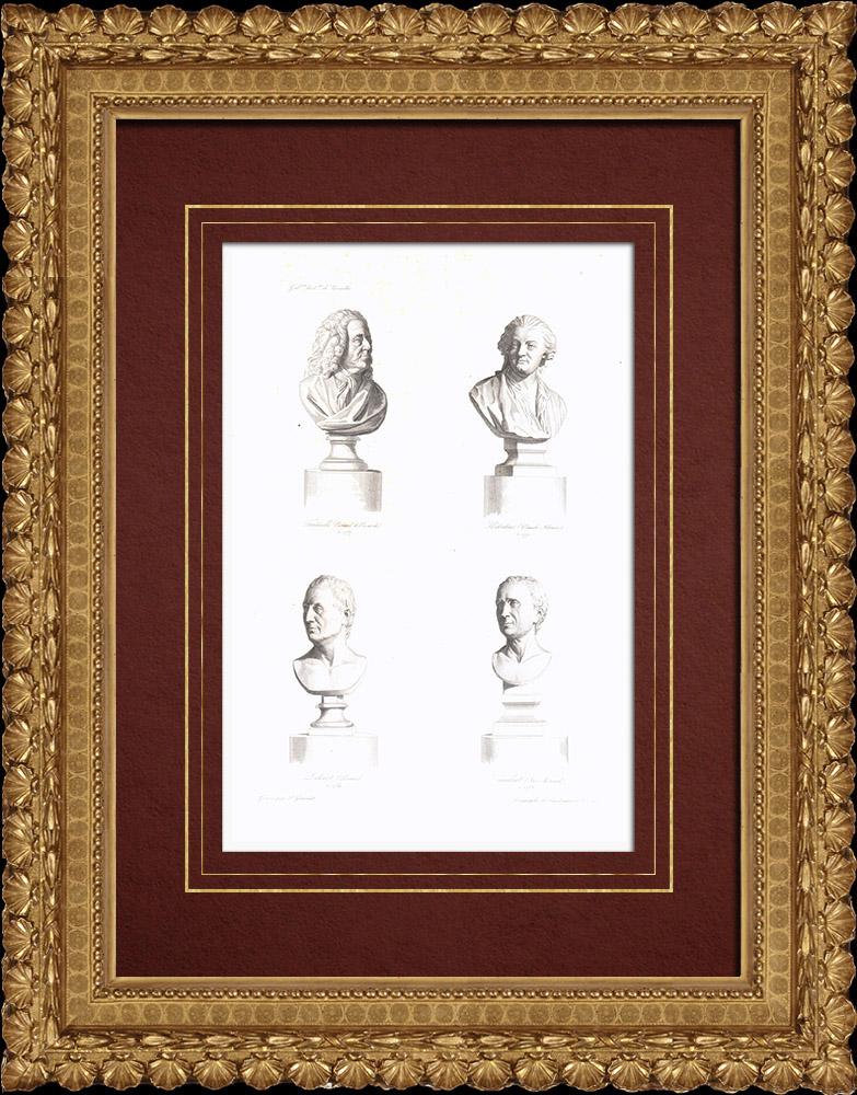 Grabados & Dibujos Antiguos | Bustos - Fontenelle (1657-1757) - Claude-Adrien Helvétius (1715-1771) - Denis Diderot (1713-1784) - Jean le Rond D'Alembert (1717-1783) | Grabado en talla dulce | 1838
