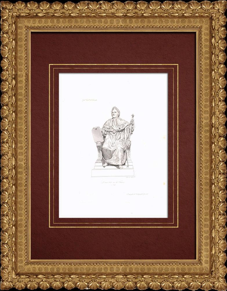 Gravures Anciennes & Dessins | Portrait de Louis XVIII (1755-1824) - Roi de France | Taille-douce | 1838