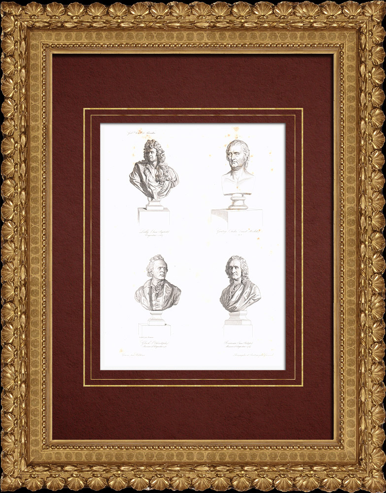 Gravures Anciennes & Dessins | Bustes - Musiciens - Jean-Baptiste Lully (1632-1687) - André Grétry (1741-1813) - Christoph Willibald Gluck (1747-1787) - Jean-Philippe Rameau (1683-1764) | Taille-douce | 1838