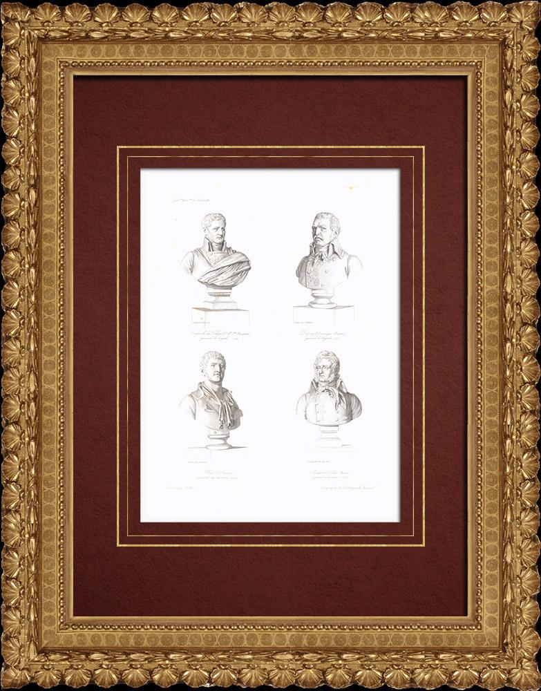 Gravures Anciennes & Dessins | Bustes - Caffarelli du Falga (1756-1799) - Dominique Martin Dupuy (1767-1798) - Louis-André Bon (1758-1799) - Jean-Antoine Marbot (1754-1800) | Taille-douce | 1838