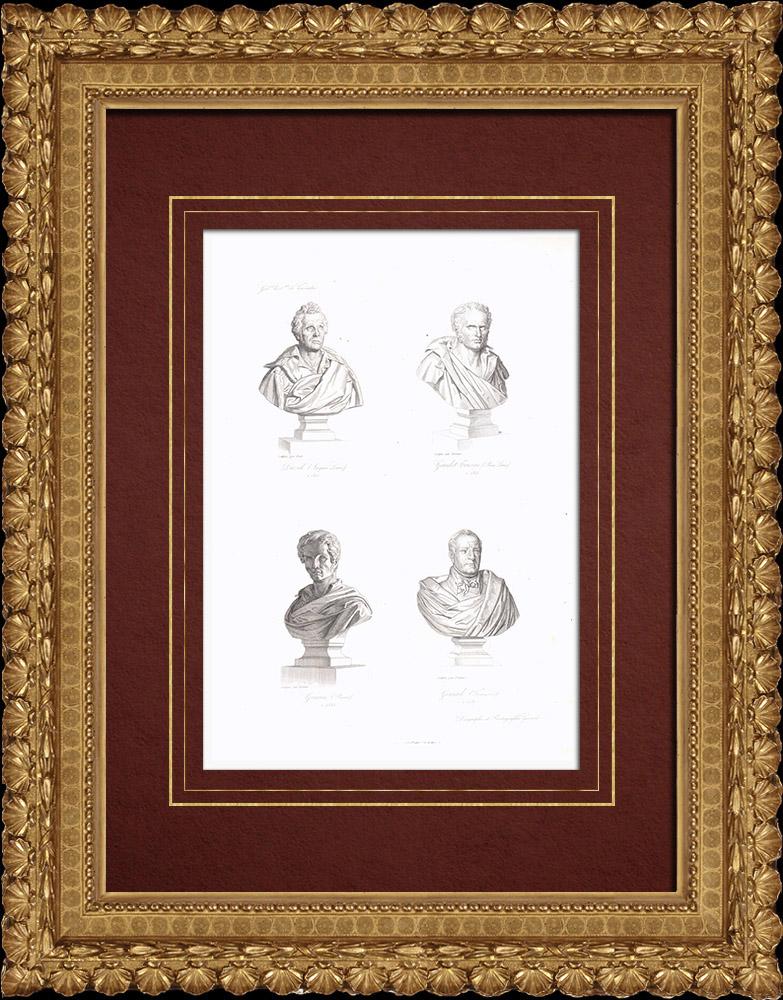 Gravures Anciennes & Dessins | Buste - Jacques-Louis David (1748-1825) - Girodet-Trioson (1767-1824) - Pierre-Narcisse Guérin (1774-1833) - François Gérard (1770-1837) | Taille-douce | 1838