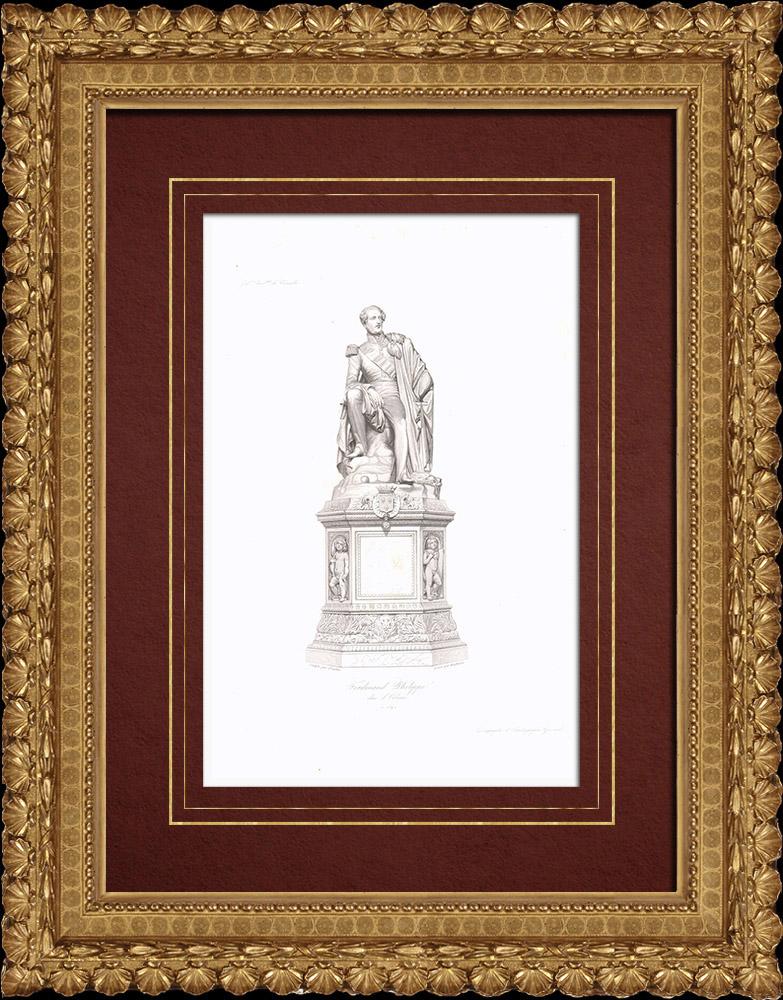 Gravures Anciennes & Dessins | Statue de Ferdinand-Philippe d'Orléans (1810-1842) | Taille-douce | 1838