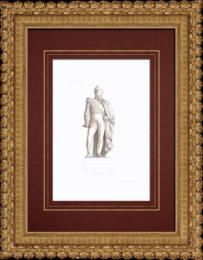 Grabados & Dibujos Antiguos   Estatua de Mariscal Soult - Mariscal del Imperio (1769-1851)   Grabado en talla dulce   1838