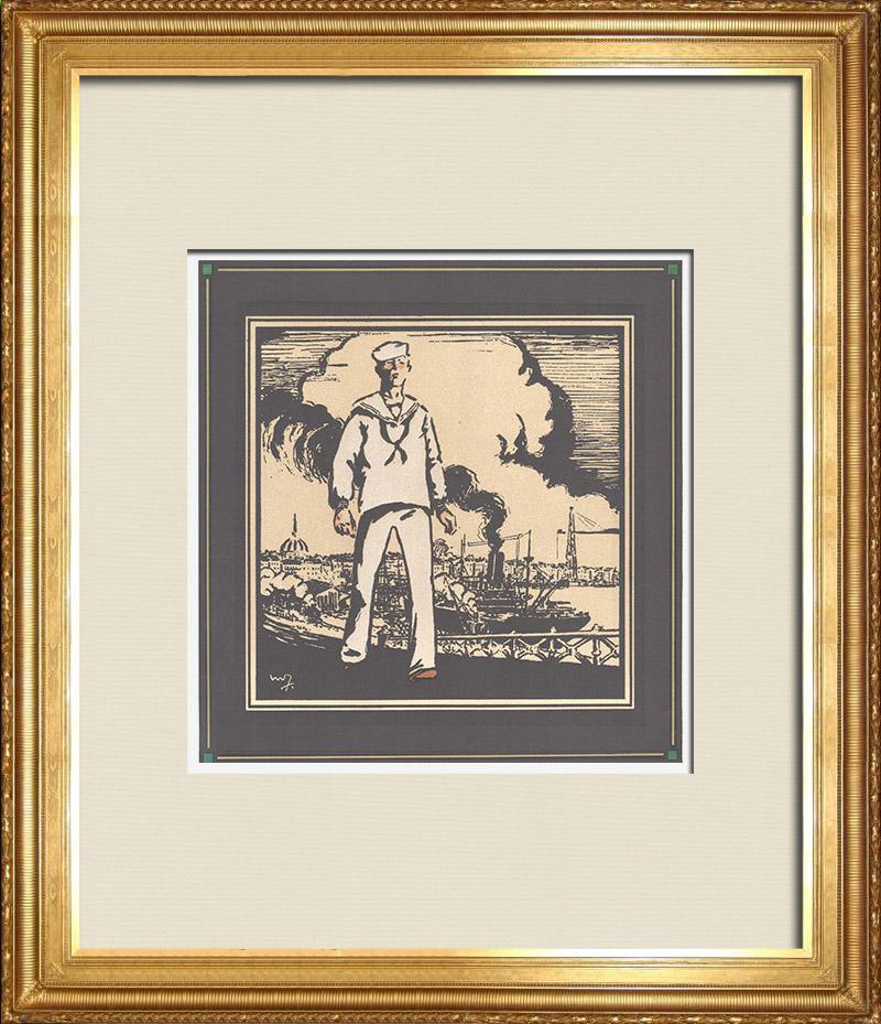 Gravures Anciennes & Dessins | Première Guerre Mondiale - Soldats Américains en France 1/9 | Gravure sur bois | 1918