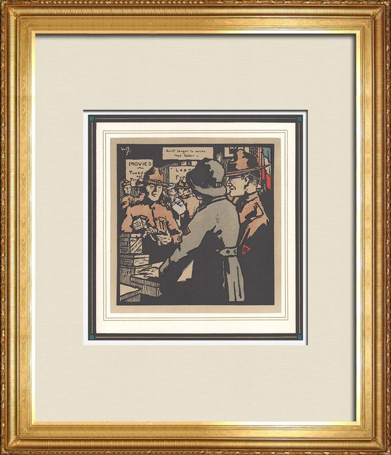 Gravures Anciennes & Dessins | Première Guerre Mondiale - Soldats Américains en France 3/9 | Gravure sur bois | 1918