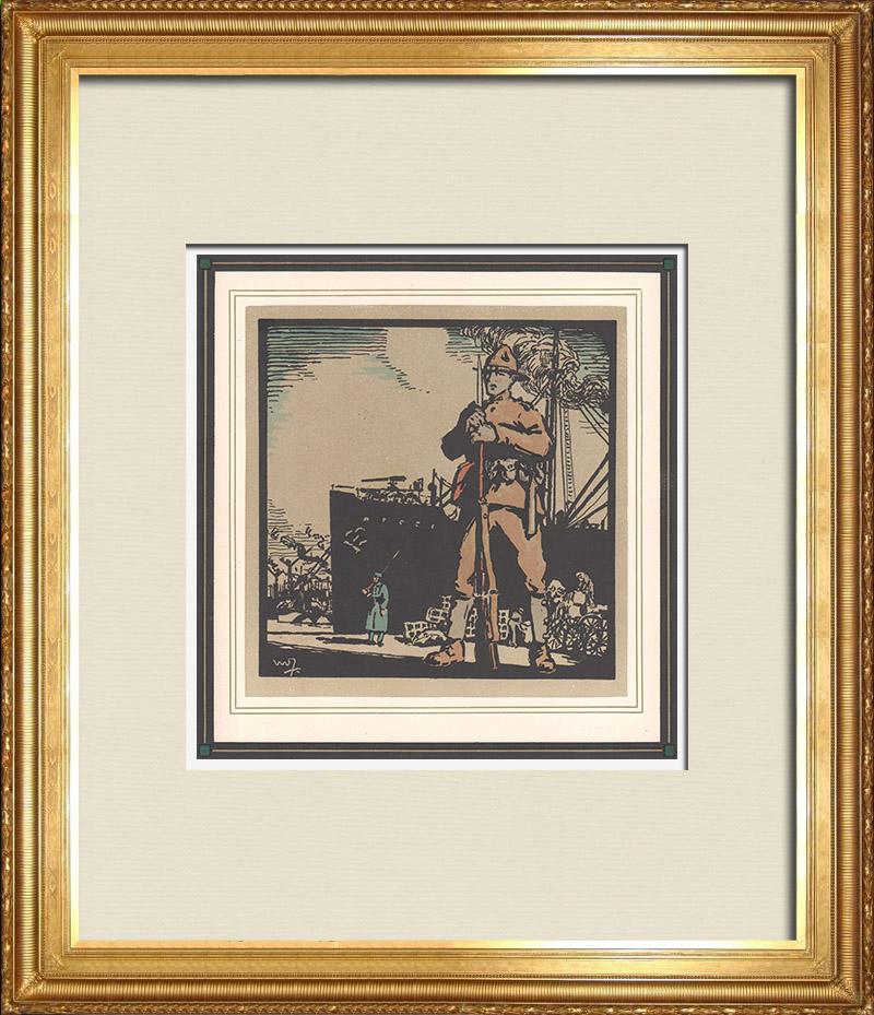 Gravures Anciennes & Dessins | Première Guerre Mondiale - Soldats Américains en France 4/9 | Gravure sur bois | 1918