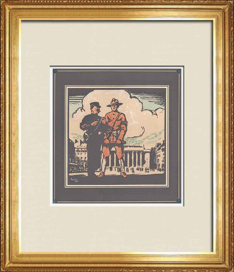 Gravures Anciennes & Dessins   Première Guerre Mondiale - Soldats Américains en France 8/9   Gravure sur bois   1918