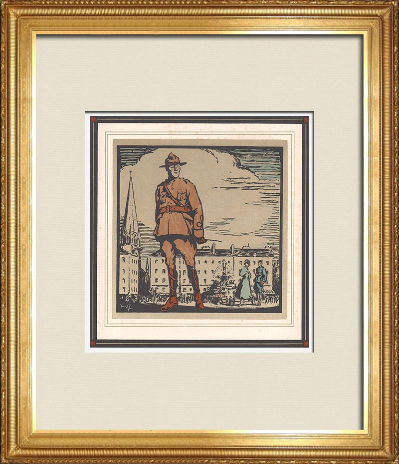 Gravures Anciennes & Dessins   Première Guerre Mondiale - Soldats Américains en France 9/9   Gravure sur bois   1918