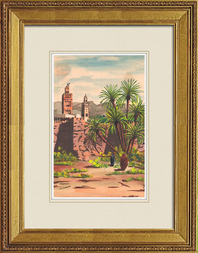 Gravures Anciennes & Dessins | Vue de Marrakech - Minaret (Maroc) | Aquarelle | 1930