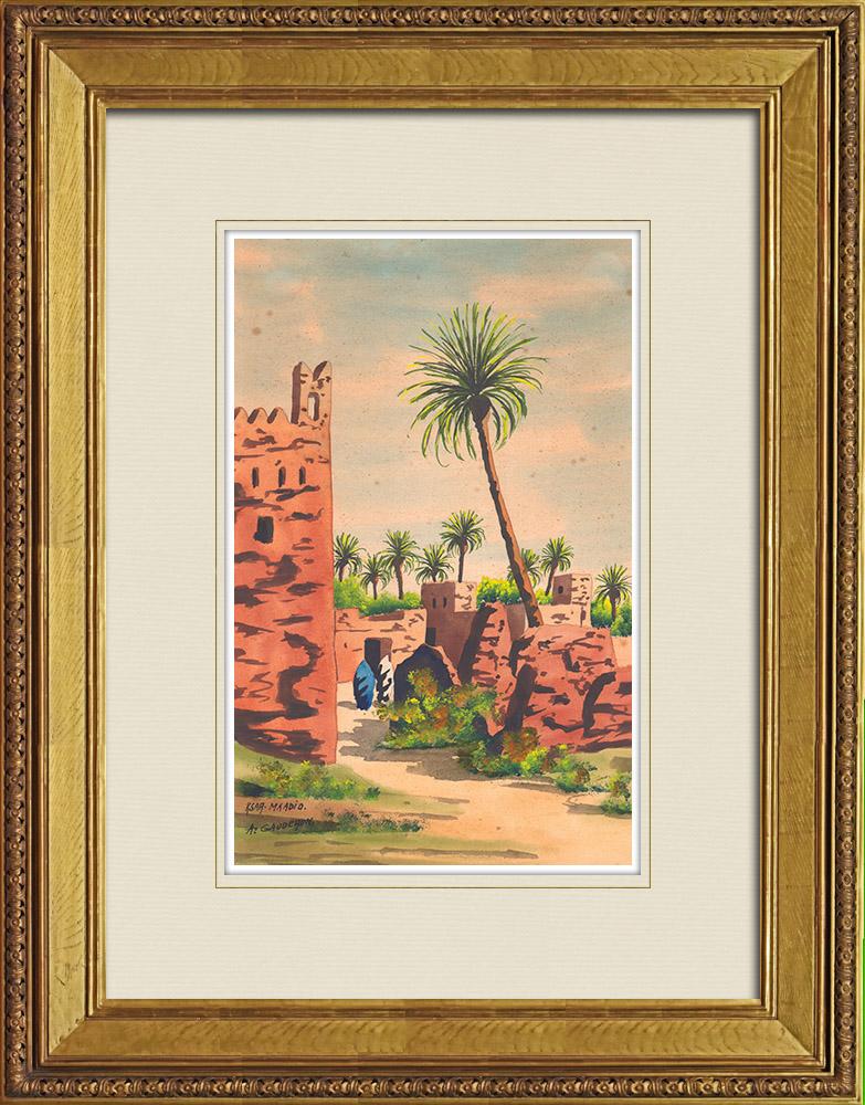 Antique Prints & Drawings | View of Ksar Maadid in Erfoud - Arfoud (Morocco) | Watercolor painting | 1930