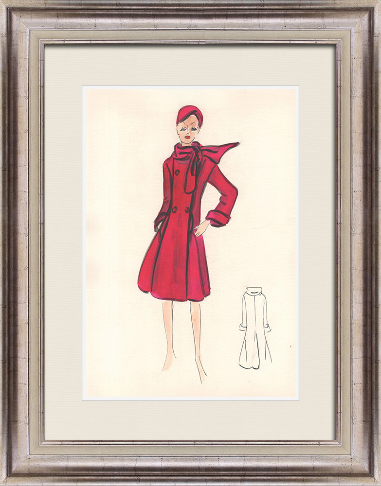 Gravures Anciennes & Dessins   Dessin de Mode - France - Paris - Années 1950/1960 13/47   Dessin   1960
