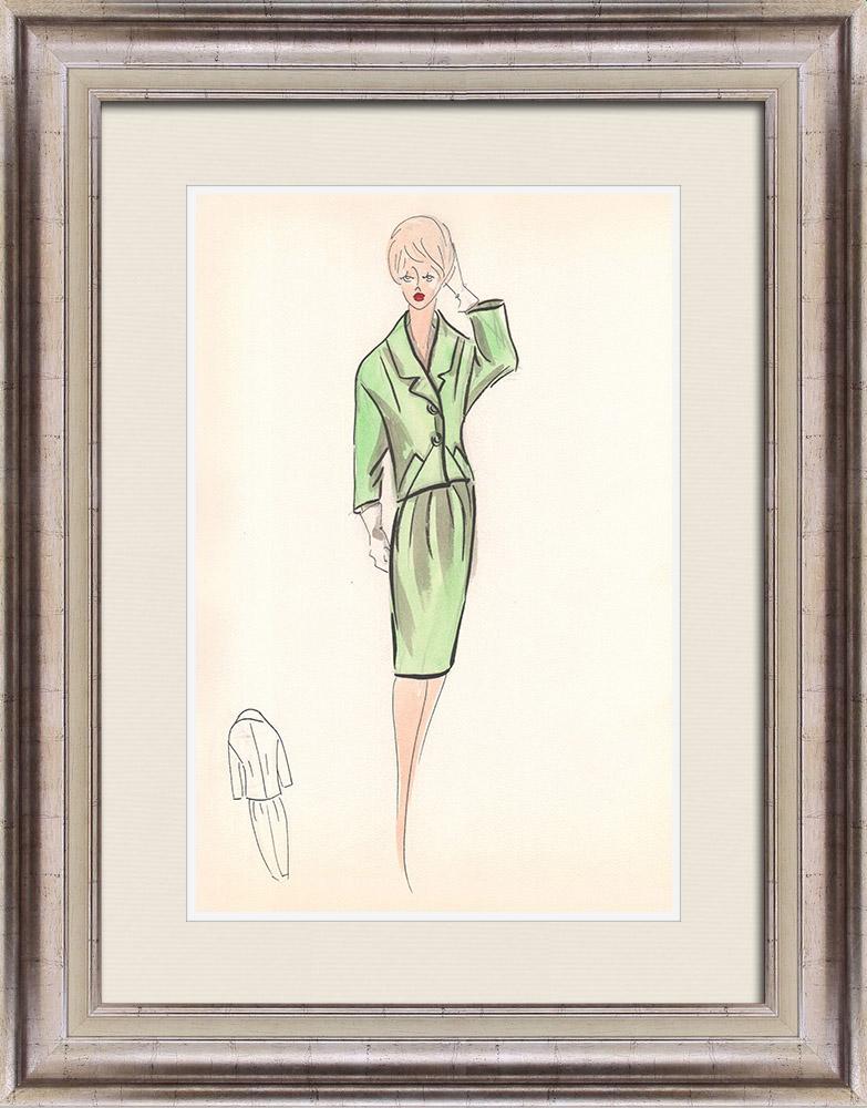 Gravures Anciennes & Dessins | Dessin de Mode - France - Paris - Années 1950/1960 26/47 | Dessin | 1960