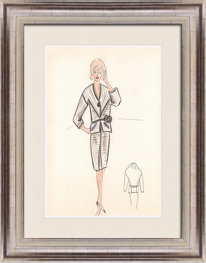 Gravures Anciennes & Dessins | Dessin de Mode - France - Paris - Années 1950/1960 28/47 | Dessin | 1960