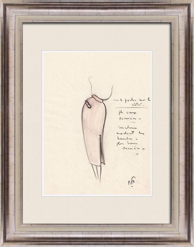 Gravures Anciennes & Dessins | Dessin de Mode - France - Paris - Jupe - Années 1950 12/12 | Dessin | 1950