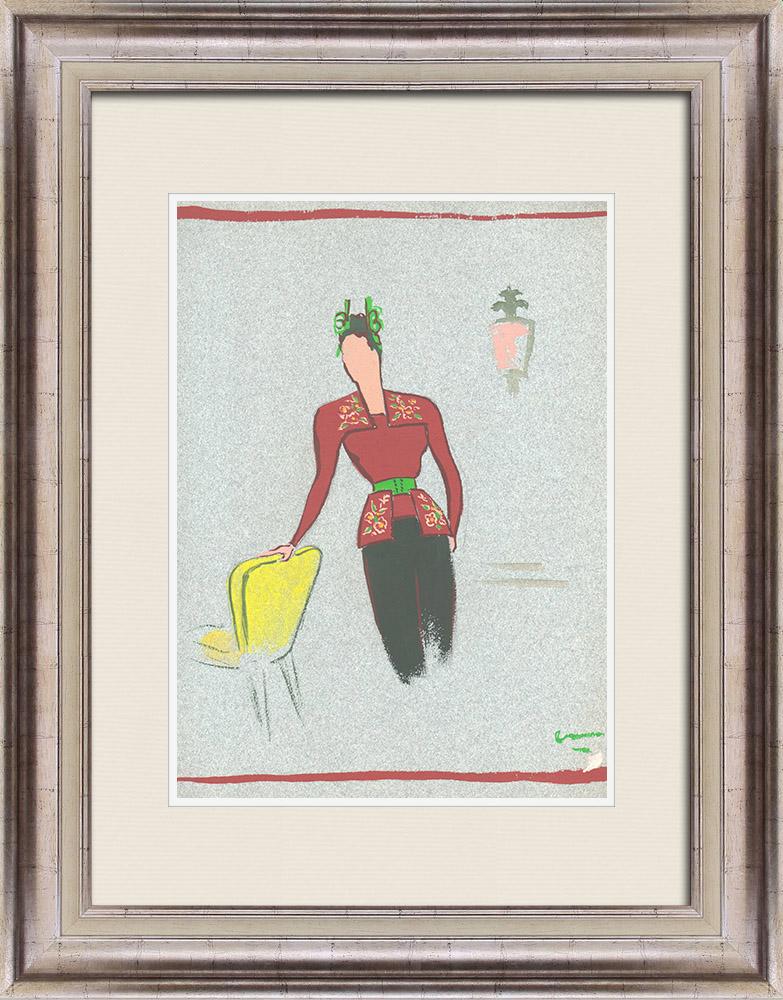 Gravures Anciennes & Dessins   Dessin de Mode - France - Paris - Années 1950   Dessin   1950