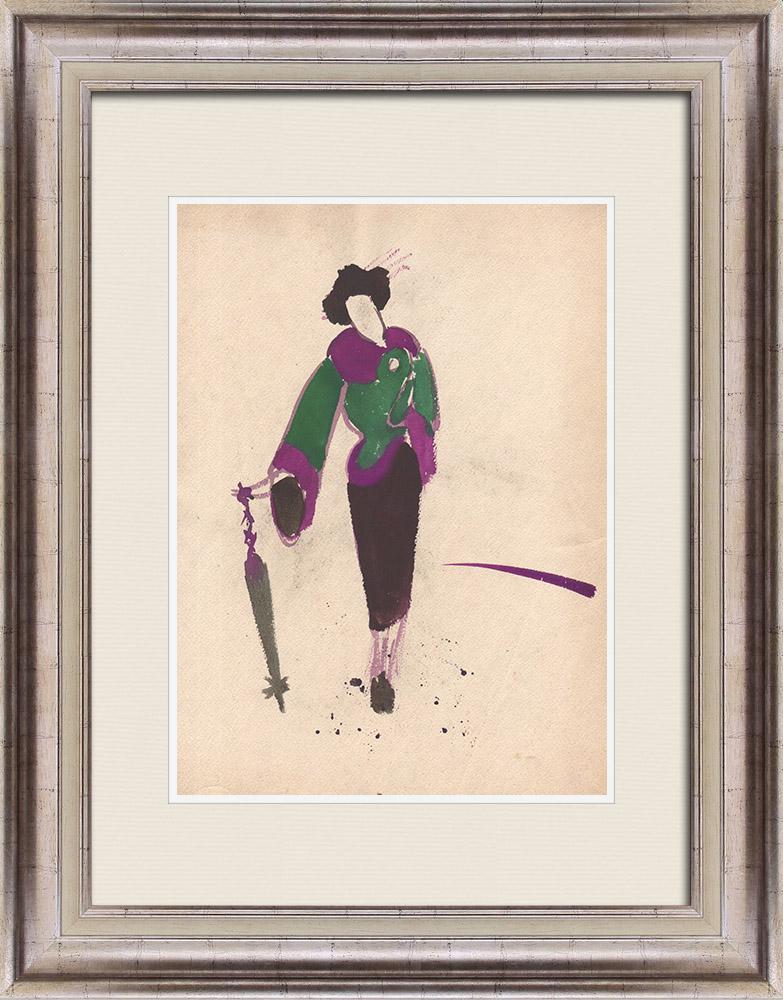 Gravures Anciennes & Dessins | Dessin de Mode - France - Paris - Japon - Années 1950 | Dessin | 1950