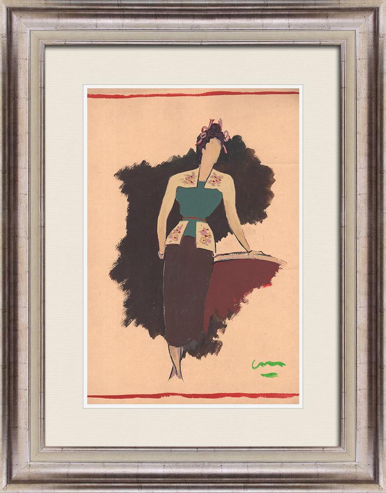 Gravures Anciennes & Dessins | Dessin de Mode - France - Paris - Années 1950 | Dessin | 1950