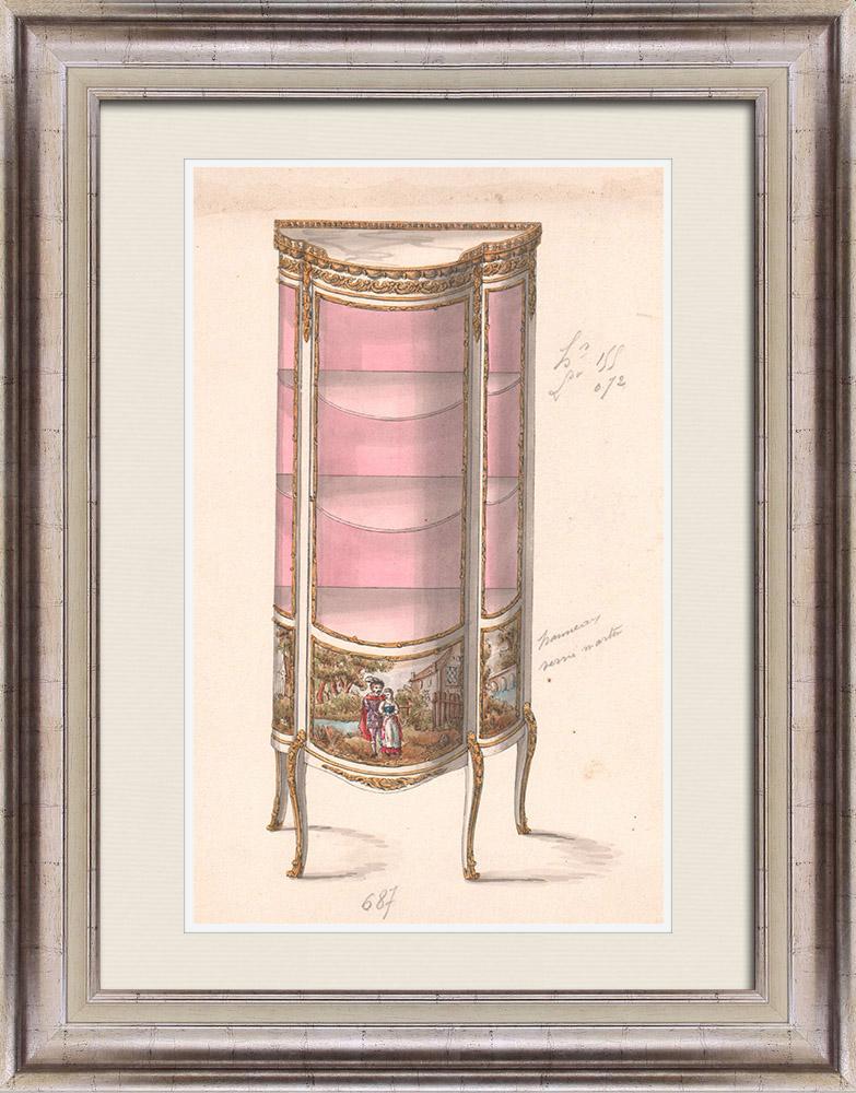 Gravures Anciennes & Dessins | Dessin Préparatoire - Ebénisterie - Vitrine N°687 | Dessin | 1850