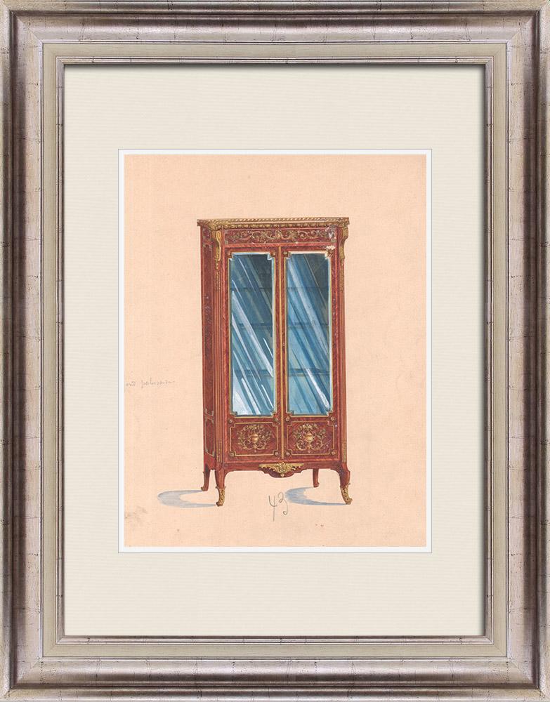 Gravures Anciennes & Dessins | Dessin Préparatoire - Ebénisterie - Vitrine N°43 | Dessin | 1850