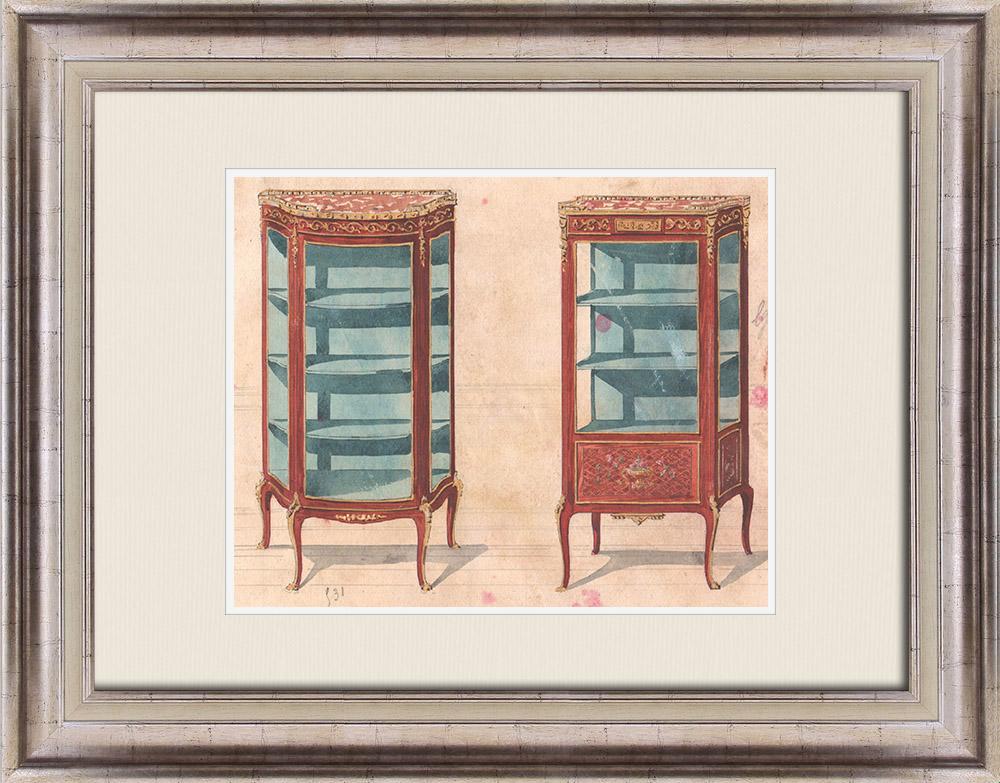 Gravures Anciennes & Dessins | Dessin Préparatoire - Ebénisterie - Vitrine N°531 | Dessin | 1850