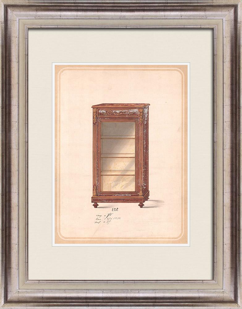 Gravures Anciennes & Dessins | Dessin Préparatoire - Ebénisterie - Vitrine N°228 | Dessin | 1850