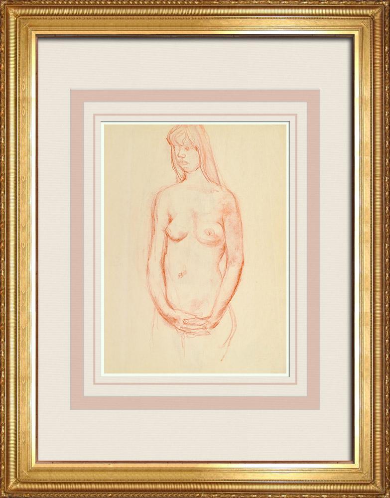 Gravures Anciennes & Dessins | Etude de Nu Féminin (Huber) 1/76 | Dessin | 1960