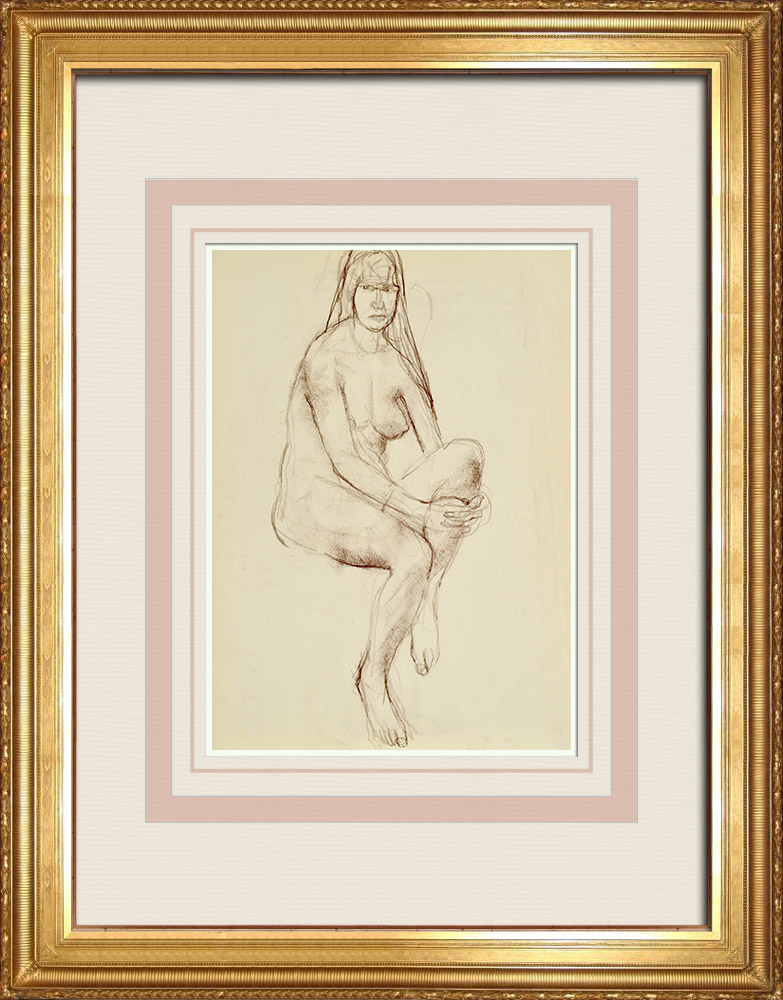 Gravures Anciennes & Dessins | Etude de Nu Féminin (Huber) 2/76 | Dessin | 1960