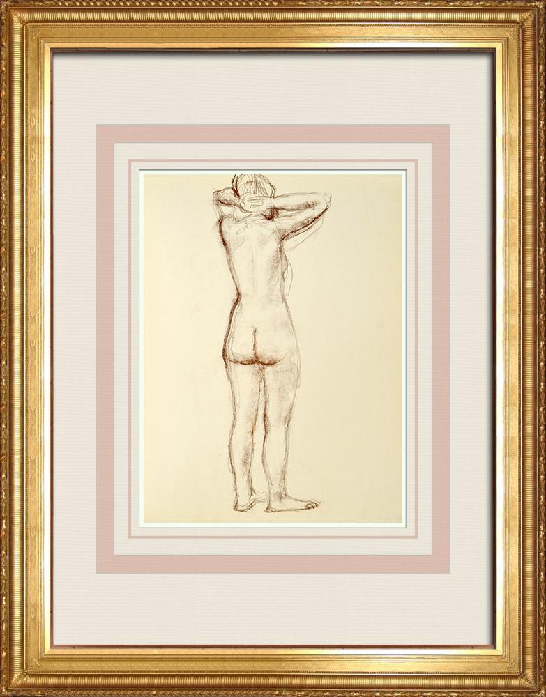 Gravures Anciennes & Dessins | Etude de Nu Féminin (Huber) 3/76 | Dessin | 1960