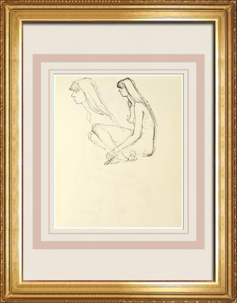 Gravures Anciennes & Dessins | Etude de Nu Féminin (Huber) 4/76 | Dessin | 1960