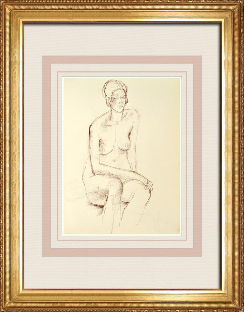 Gravures Anciennes & Dessins   Etude de Nu Féminin (Huber) 5/76   Dessin   1960