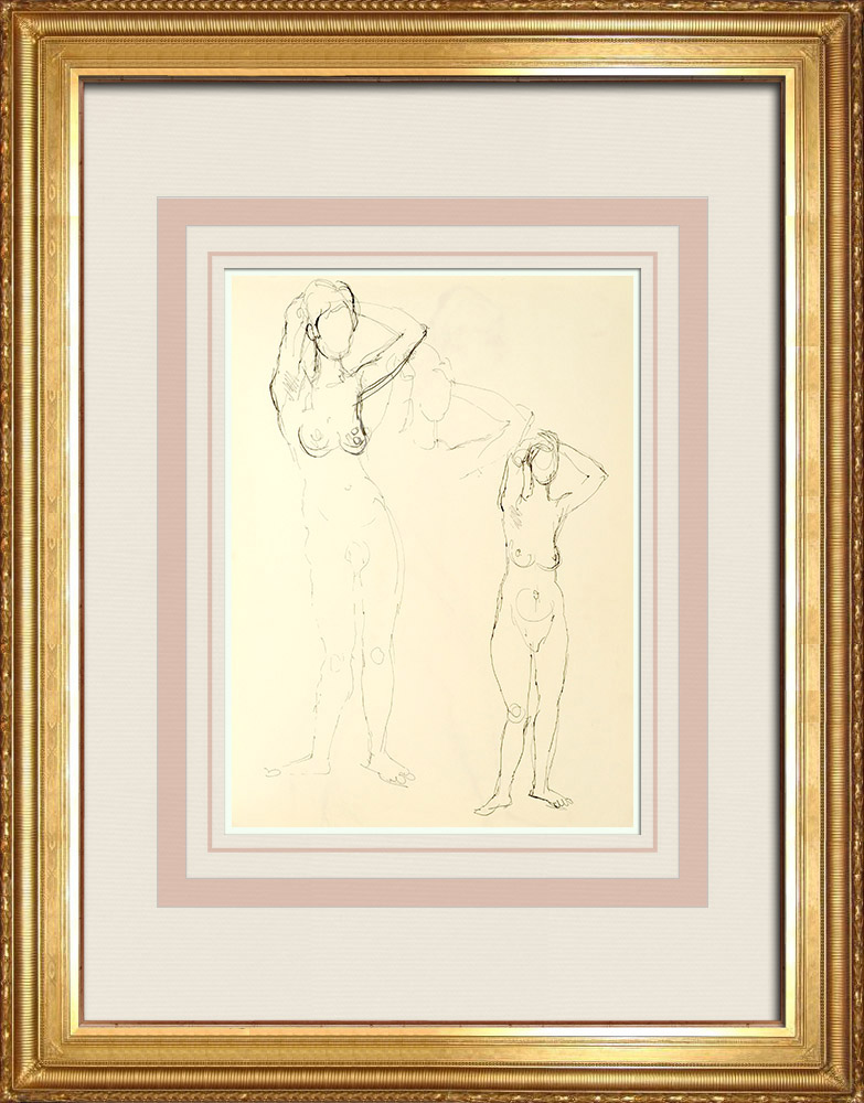Gravures Anciennes & Dessins | Etude de Nu Féminin (Huber) 8/76 | Dessin | 1960