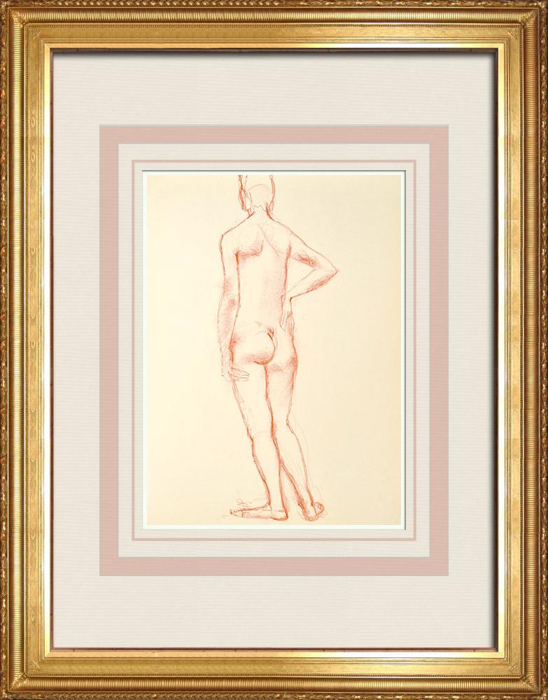 Gravures Anciennes & Dessins   Etude de Nu Féminin (Huber) 10/76   Dessin   1960