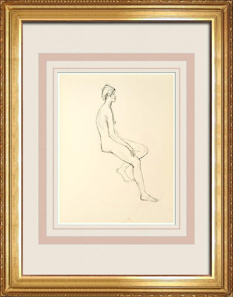 Gravures Anciennes & Dessins | Etude de Nu Féminin (Huber) 11/76 | Dessin | 1960